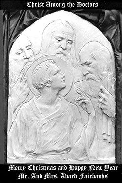 Christ among the doctors bas relief