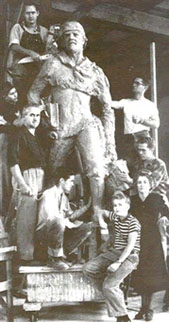 Fairbanks family poses with heroic statue